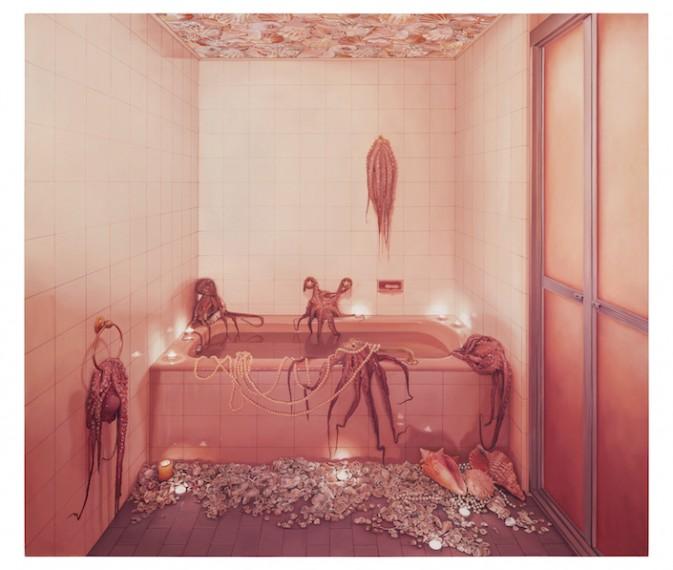 Banheiro rosa com polvos, 2017