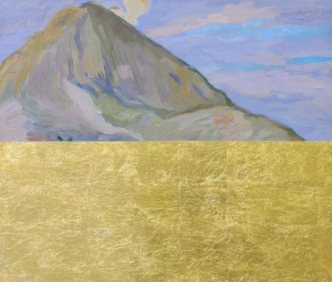 Pan de Oro sobre Paesaje Indigenista (II), 2014