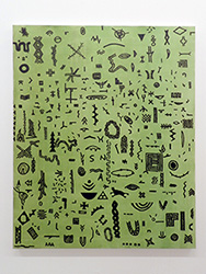 Frederico Filippi_Pequena Coleção de Problemas Maiores, 2018_Asphalt paint and oil on canvas_138 x 108 cm
