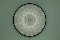 Zilvinas Kempinas_Sadalbari, 2018_Acrylic, resin, wire, paper, steel frame, lights_86,4 cm