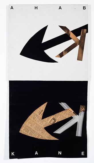 Luciano Figueiredo_Ahab Kane, da série Kinomania n. 8, 1993_Newspaper, wood, vile and acrylic on canvas_72,2 x 36,4 cm